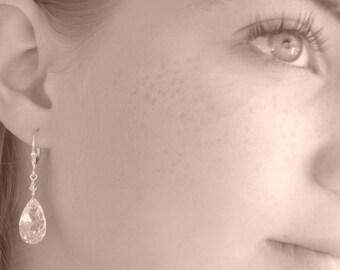 Bridesmaid Teardrop Earrings, Swarovski Crystal Earrings, Clear Drop Earrings, Dangle Earrings, Bridesmaids Earrings, Wedding Jewelry Gift