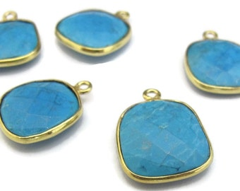 One Turquoise Charm with Gold Plated Bezel, Square Shaped Gemstone Pendant, 14mm - 15mm, Jewelry Supplies (C-Tq1f)