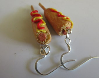 Corn Dog Earrings, State Fair Corn Dogs, Handmade Fake Food Jewelry, Crowd Favorite, After School Snack