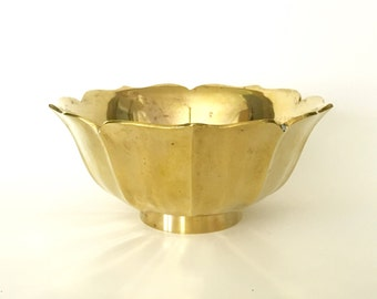 Solid Brass Lotus Bowl