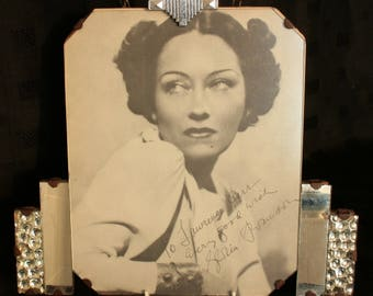Original Art Deco Framed Autographed Signed Photograph of Gloria Swanson Hollywood Star Celebrity Sunset Boulevard Norma Desmond