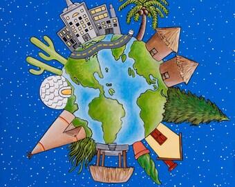 Global Village - art print from original acrylic painting