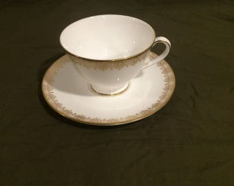 Vintage 1980s Royal Doulton Gold Lace China Tea Cup and Saucer