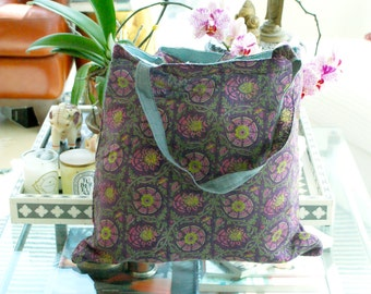 Indian Hand Block Print Cotton Voile and Jute Burlap Market Grocery,Shopping, Beach Laptop Tote Bag