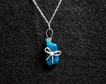 Wire Wrapped Blue Apatite Gemstone Necklace with Silver Wire Bow