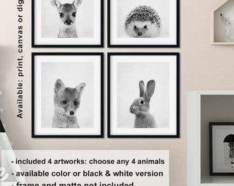 Woodland Animal prints for nursery, Woodland baby gift, Black and white woodland animals, Forest friends nursery set of four Print/Canvas/Di