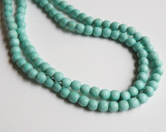 Seafoam Blue wood beads round 6mm full strand eco-friendly Cheesewood 9419NB