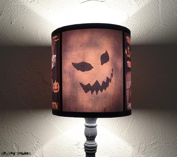 Evil pumpkin lamp shade halloween decor jack o lantern aloadofball Images