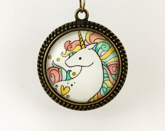 Rainbow Unicorn Necklace, Wearable Art Pendant, Bronze Jewelry