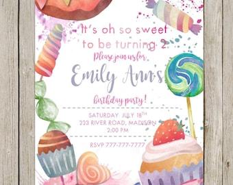 Printable DIY Birthday Invitation | Oh So Sweet Birthday | Candy Shoppe Birthday | Sweet Shoppe Birthday | Candy Shop | Watercolor