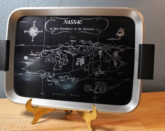 Vintage English Woodmet Tray - Map of Nassau Bahamas - Bar Tray
