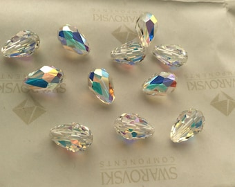 16 pieces Vintage Swarovski #5500 12x8mm Crystal Clear AB Briolette Drop Faceted Beads
