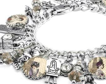 French Charm Bracelet, France Jewelry, Eiffel Tower Charms, Silver Charm Jewelry, French Bracelet