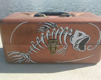Vintage Metal Tackle Box with Hand Painted Design angler Fisherman lures bobber reel rod shark nostalgia bass trip camping grandpa man cave