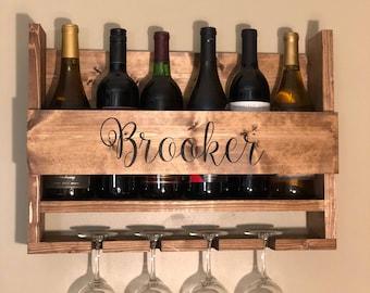 Rustic, wooden, handmade, wall mount, farmhouse wine rack  **Free Personalization**