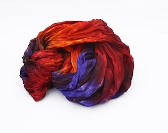 orange silk scarf -  Burlesque - orange, red, purple silk scarf.