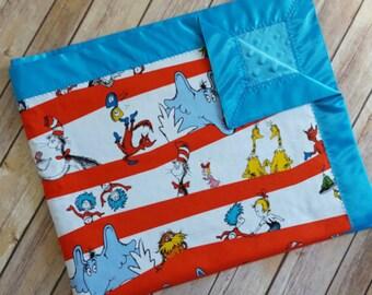 Dr. Seuss minky blanket, the cat in the hat blanket, Dr. Seuss baby blanket, Dr seuss nursery, Cat in the hat nursery