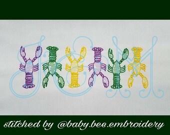 Mardi Gras Crawfish Lobster Sketch Embroidery Design