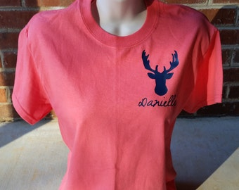 Personalized Deer Short Sleeve Shirt. Southern. Southern Girl. Deer. Southern Shirt. Deer Shirt. Personalized Antler. Antler Shirt. Southern