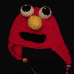Sesame Street Elmo Specialty winter hat with earflaps, winter childrens elmo hat in various sizes from newborn to teen