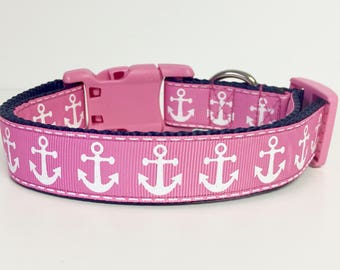 Nautical Anchor Pink and White Dog Collar