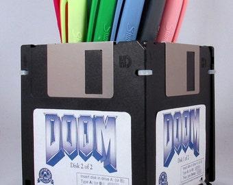 DOOM Video Game Floppy Disk Pen and Pencil Holder