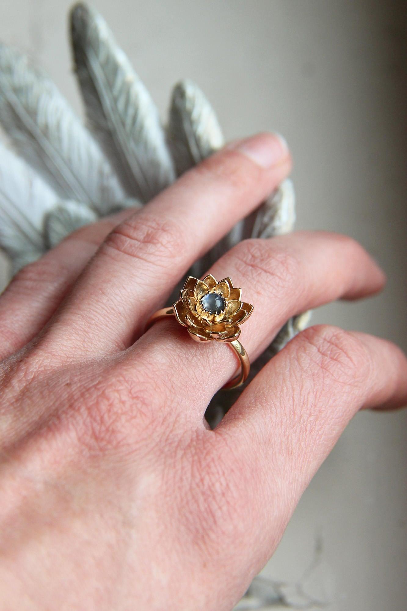Unique gold lotus engagement ring, 14K gold ring, Blue moonstone ...
