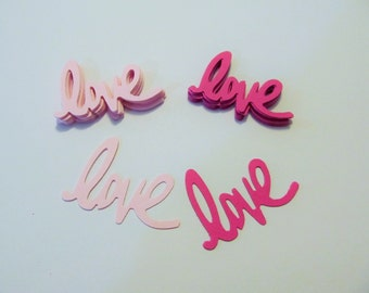 Love Die Cuts - Scrapbooking - Cardmaking - Pink Shades - Quantity of 25 each- Destash - Confetti - Wedding Table Scatter - Bridal Showers