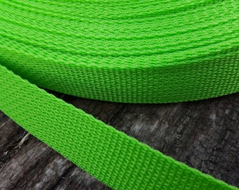 Lime Green Polypro one-inch Webbing, Belting, Dog Collar Webbing