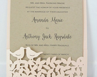 Lasercut, Laser Cut Wedding Invite, Fall Wedding Invitation, Love Bird Wedding Invite, Rustic Wedding, Autumn Wedding,  LOVE BIRD