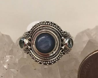 Kyanite and Blue Topaz Ring Size 9