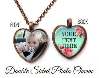 Double Sided Custom Photo Heart Necklace - 2 Two Picture Photo Heart Locket - Custom Photo Jewelry - Your Text and Photo Reversible Necklace