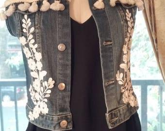 Gypsy Floral Lace Altered Denim Jacket Vest, Upcycled Fantasy Boho Vest, Wedding Vest, Size Small