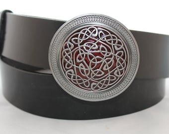 handmade leather belt with celtic buckle