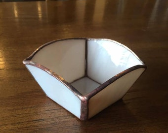 Handmade Stained Glass Ring Dish, Candle Holder, Tray
