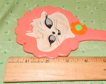 Pink Plastic Child's Mirror with Cardboard Cat Face Print for repurposing , broken Handle