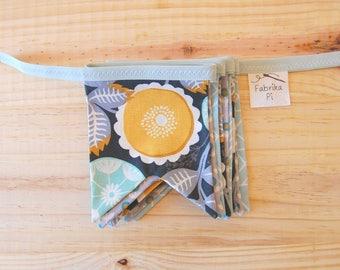 Fabric pennant with Aquamarine, mustard and grey shades