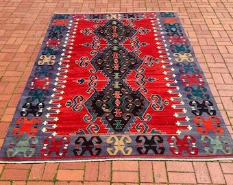 Vintage Koprubasi Kilim, Anatolian Handwoven Turkish Carpet! Free Shipping! '195cm X 300cm'