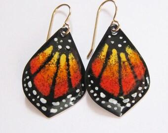 Monarch butterfly wing enamel earrings Orange enameled hand-painted dangles Artisan art jewelry  Gold wire drops