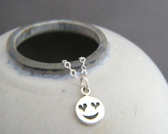 """sterling silver heart eyes emoji necklace. tiny love pendant. small text happy smiley face jewelry. quirky kitschy fun sweet gift charm 3/8"""""""