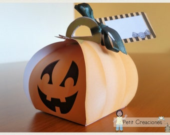 "PRINTABLE Curvy keepsake gift BOX ""Halloween Pumpkin"" DIY, treat box, place holder, gift idea for party"