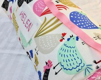 Nap Mat with Pillow, Daycare Nap Mat, Chickens, Animal Nap Mat, Kindergarten Nap Mat, Toddler Nap Mat, Kindermat Cover, Nap Mat with blanket