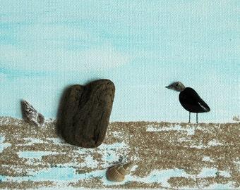 Shore bird...pebble art