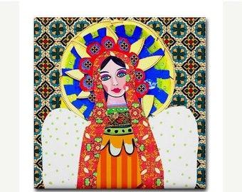 Mexican Folk Art Ceramic Tile  Virgin of Guadalupe Art  Mexican Talavera Tiles Gift COASTER