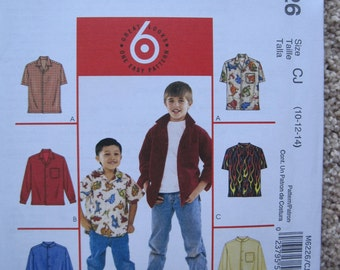 UNCUT Boys Shirts - Size 10, 12, 14 - McCalls Pattern M6226