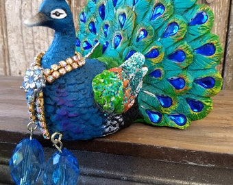 Peacock statue, figurine, jeweled, embellished, whimsicalhomeart