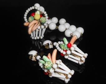 Fruit Salad Basket Charm Bracelet & Matching Dangle Clip Back Earrings West Germany Bananas Apples