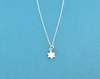 """Little girl's Star of David necklace in sterling silver on a 14"""" sterling silver rolo chain. Star of David.  Jewish jewelry."""