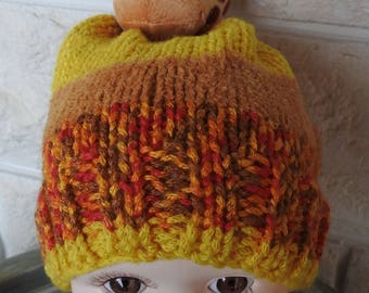 Hand Knitted Child's Multicoloured Giraffe Winter Hat - Frees Shipping