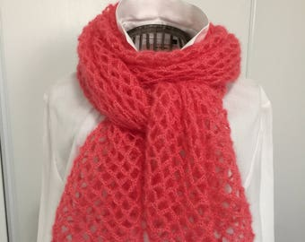 Coral scarf/shawl, mohair and silk